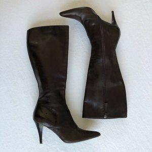 HUGO BOSS Tall Brown Soft Leather High Heel Pointe